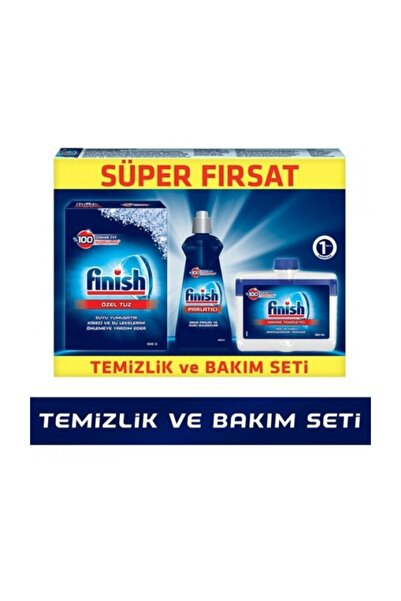Finish Temizlik Ve Bakım Seti parlatıcı 400 ml  Makine Temizleyici Sıvı 250 ml  Tuz 500 gr