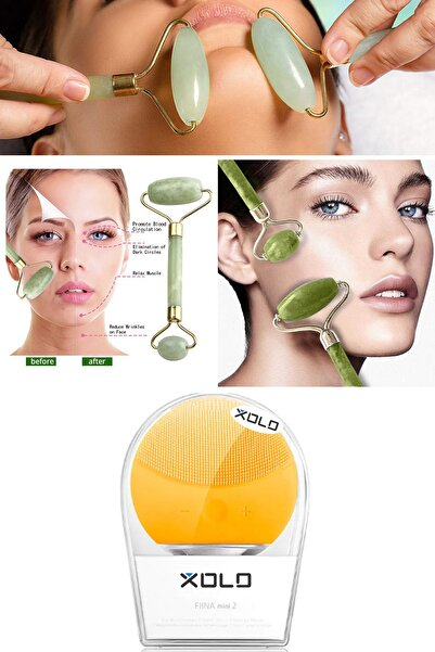 xolo Şarj Edilebilir Sarı Yüz Temizleme Cihazı + Jade Roller 2'li Yeşim Taşı Masaj Aleti