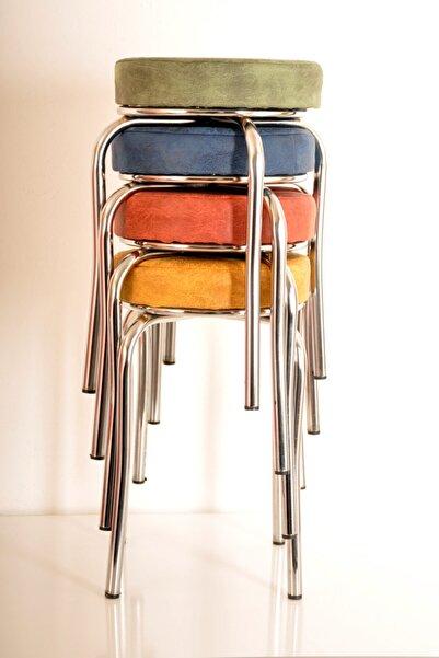 yılmaz masacılık 4 Lü Renkli Kumaş Ahtapot Tabure Mutfak Taburesi Demir Tabure