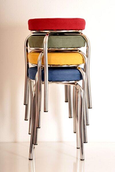 yılmaz masacılık 4 Lü Renkli Tay Tüyü Ahtapot Tabure Mutfak Taburesi Demir Tabure