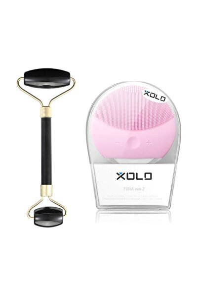 xolo Şarj Edilebilir Pembe Yüz Temizleme Cihazı + Jade Roller Siyah 2'li Yeşim Taşı Masaj Aleti