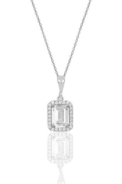 Söğütlü Silver Gümüş Baget Taşlı Kolye Sgtl10058Rodaj