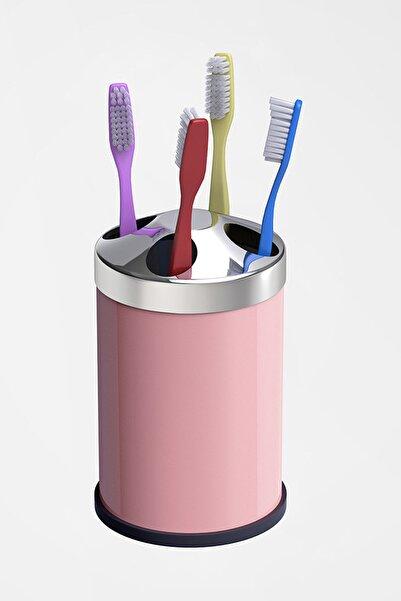 Alper Banyo Pembe Tezgah Üstü Diş Fırçalık ( Metal )