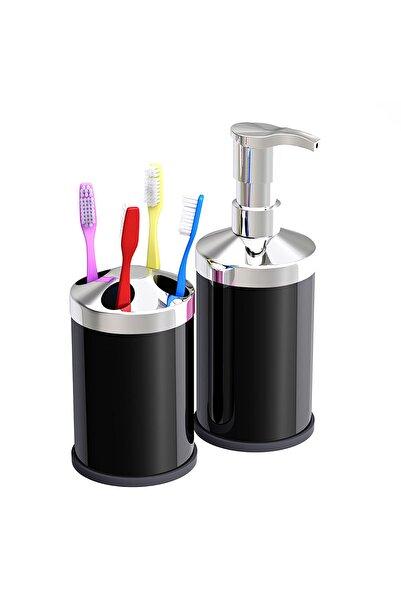 Alper Banyo Siyah Tezgah Üstü 250 Cc Sıvı Sabunluk - Diş Fırçalık Seti ( Metal )