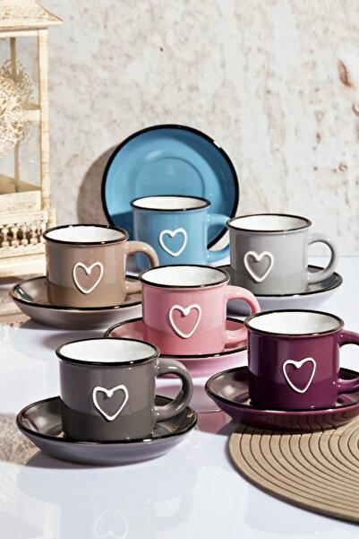 Kitchen World 6'lı Emaye Görünümlü Porselen Kalp Fincan Takımı HLT-04