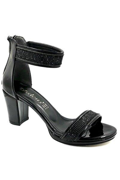 Alens Kadın Siyah Topuklu Tekbant Taşlı Abiye Sandalet