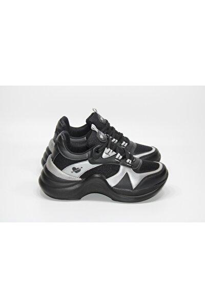 Twingo Kadın Gri Siyah Yüksek Tabanlı Günlük Sneaker Spor Ayakkabı