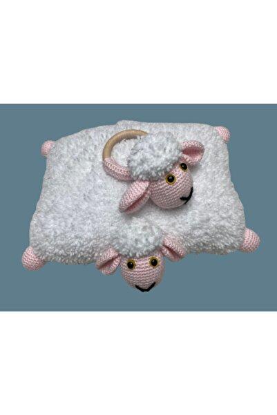 beegma %100 Organik El Yapımı Çıngıraklı Kuzu Amigurumi Oyuncak Uyku Arkadaşı Çıngıraklı Diş Kaşıyıcı