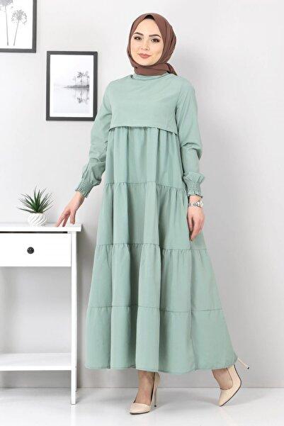 Tesettür Dünyası Kadın Mint Yeşili Kat Kat Tesettür Elbise Tsd3321