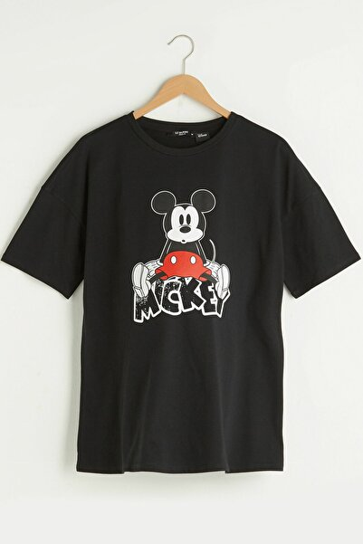 LC Waikiki Kadın Yeni Siyah Mickey Mouse Tişört