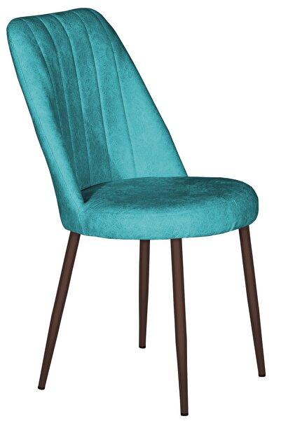 VIANEM Nova Mutfak Sandalyesi Kahve Metal Ayak