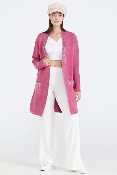 Sementa Kadın Cepli Triko Ceket - Gül