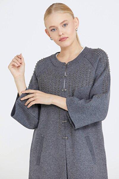 Sementa Kadın Taşlı Agraflı Triko Ceket - Koyu Gri