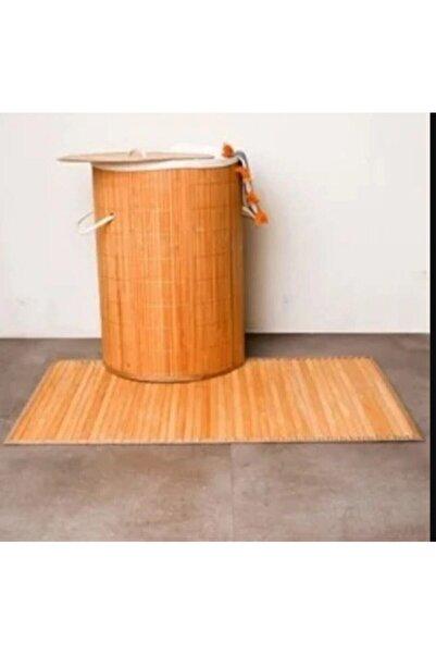 Naturalove Katlanır Naturel Oval Banyo Bambu Çamaşır Kirli Sepeti