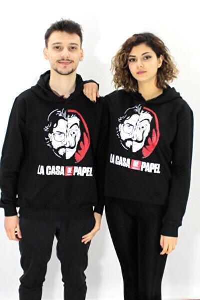 Freak Tshirt Kadın Siyah Içi Polar La Casa De Papel Baskılı Unisex Geniş Kalıp Kapüşonlu Hoodie