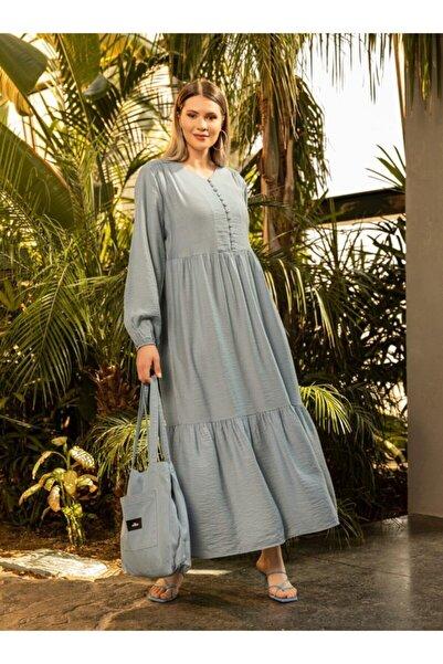 ALİA Kadın Buzul Mavi Büyük Beden Brit Düğme Detaylı Elbise