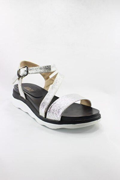 İnci Hakiki Deri Gümüş Sandalet 39 Numara