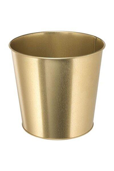 IKEA Çiçek Bitki Saksısı Gold Renk 19cm Meridyendukkan Galvanizli Çelik Saksı