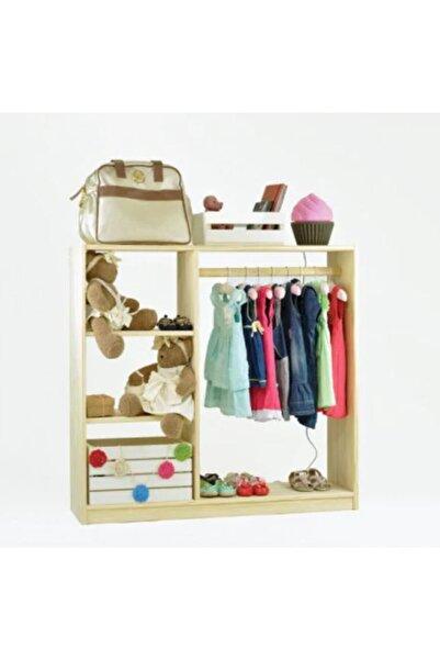 Ceebebek Ahşap Bebek Çocuk Odası Montessori Dolabı Oyun Evi Oyuncak Kıyafet Dolabı Elbise Askısı