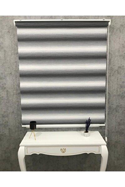 TREND STOR PERDE Ekru Gri Renk Geçişli Kırık Plise Zebra Güneşlik Perde