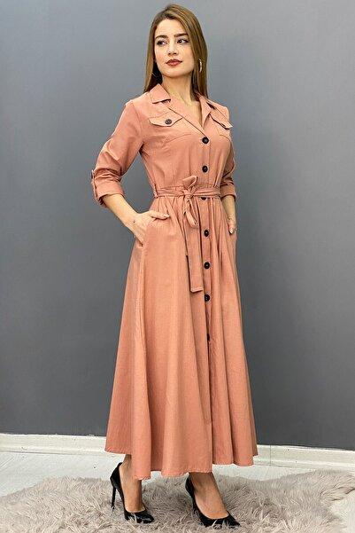 Saklı Butik Kadın Pudra Poplin Kısa Kollu Elbise -