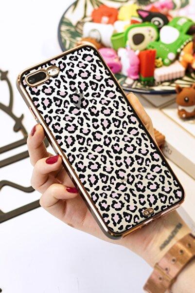 Spoyi Iphone 7 Plus / 8 Plus Uyumlu Leopar Tasarımlı Siyah Premium Telefon Kılıfı