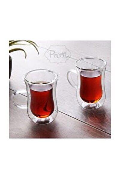 Perotti 2'li Çift Cidarlı Kulplu Cam Çay Bardağı