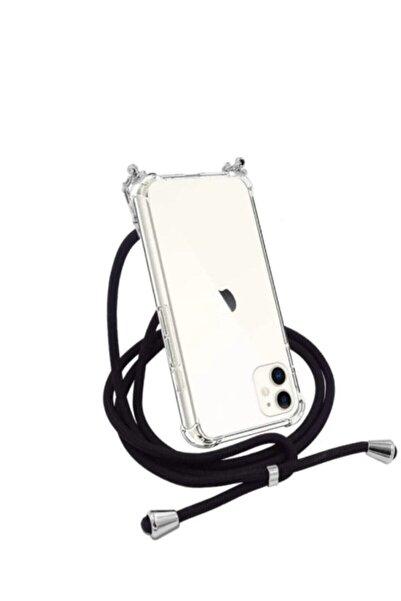 Unity Şeffaf Iphone 11 Siyah İpli Boyun Askılı Telefon Kılıfı