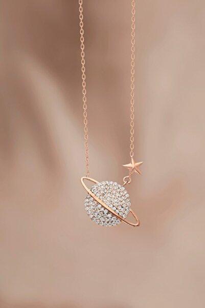 bilsen silver Tamamı Saf 925 Ayar Gümüş Rose Kaplama Gezegen Modeli Kolye