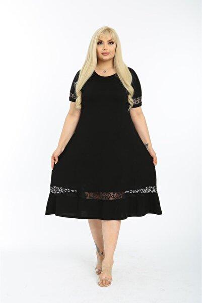 HERAXL Kadın Siyah Eteği Dantel Detaylı Kısa Kol Büyük Beden Elbise