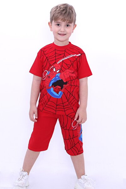 Cansın Mini Erkek Çocuk Kırmızı Baskılı 1-8 Yaş Şortlu Takım 6569
