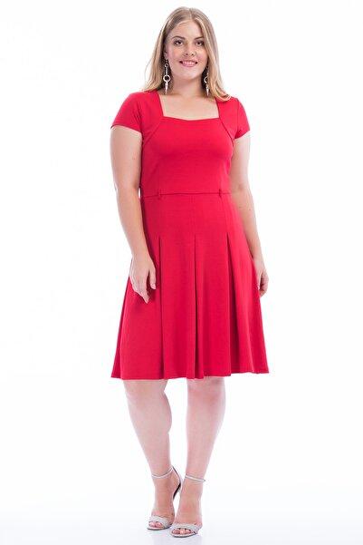Şans Kadın Kırmızı Bel Pileli Elbise 65N23493