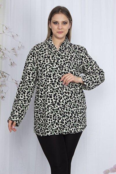 Şans Kadın Yeşil Desenli Klasik Bluz 65N23606