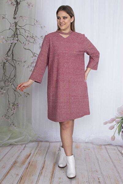 Şans Kadın Kırmızı Balıksırtı Desen Tüvid Kumaş Yaka Detaylı Elbise 65N23609