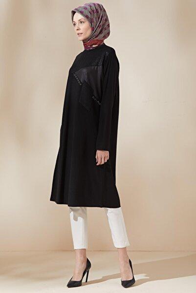 Sitare Kadın Siyah Simli Tunik