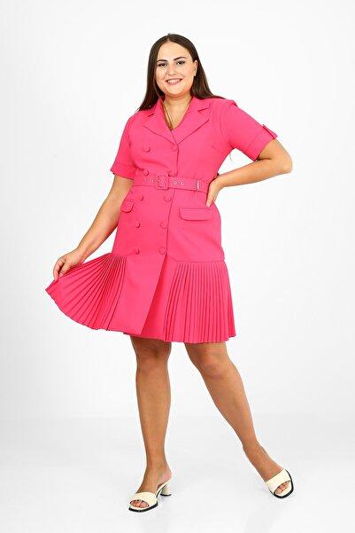 etselements Piliseli Kruvaze Yaka Düğme Detaylı Kemerli Elbise