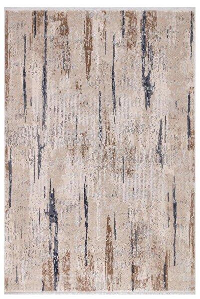 EVİMOD Luxury Bej Antrasit Bambu Görünümlü Hav Tüy Toz Vermez Halı Kilim