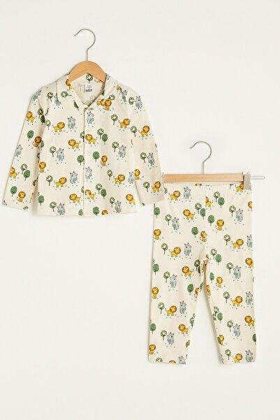 LC Waikiki Erkek Bebek Ekru Baskılı Lra Pijama Takımı
