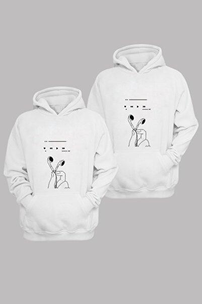 Phi Ajans Unisex Beyaz Sevgili Kombini Pamuklu Kapüşonlu Sweatshirt 2'li