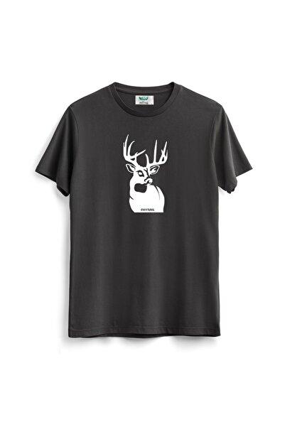 Outrail Antrasit Deer Baskılı Tişört