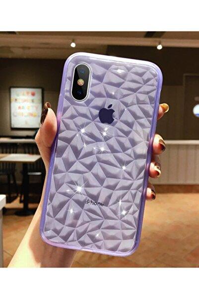 Molly Iphone Xs Max Uyumlu Mor Kristal Şeffaf Silikon Kılıf