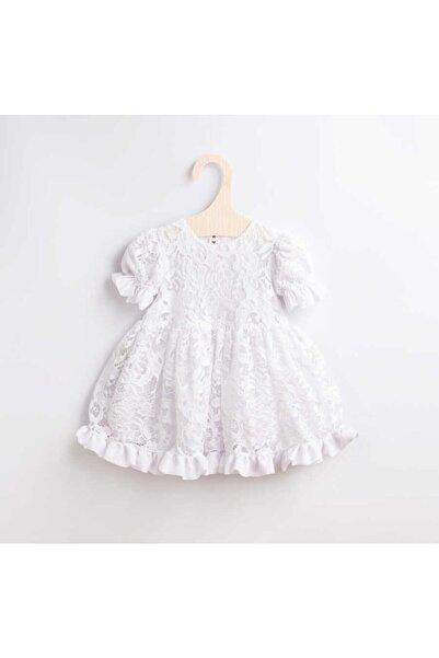 Le Mabelle Kız Çocuk Beyaz Dantel Elbise