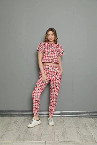 pijama moda Kadın Kırmızı Tazmanya Canavarı Desenli Kısa Kol Pijama Takmı