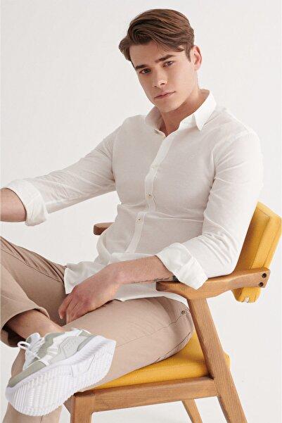 Avva Erkek Ekru Armürlü Klasik Yaka Regular Fit Gömlek A11y2075