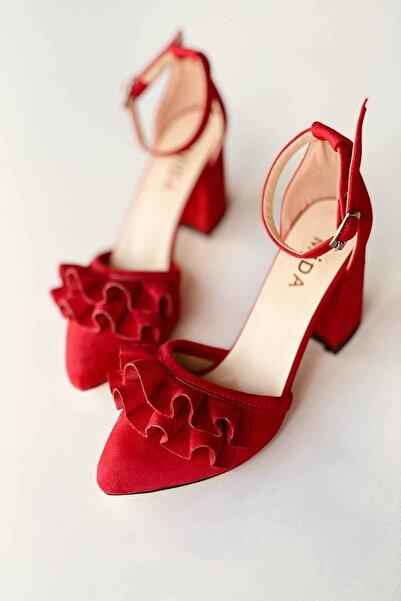Mida Shoes Kırmızı Süet Fırfırlı Topuklu Ayakkabı