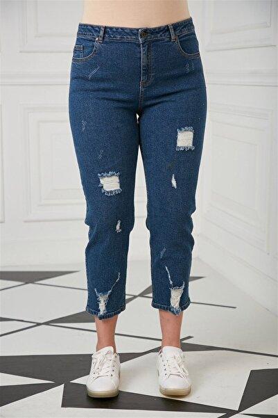 RMG Kadın  Lazer Detaylı Büyük Beden Pantolon