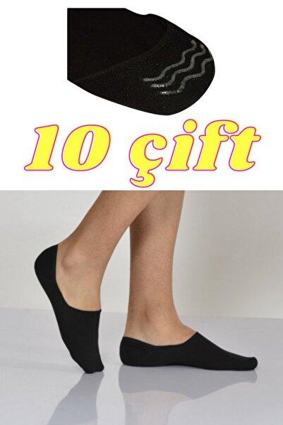 socksbox 10 Çift Dikişsiz Siyah Erkek Silikonlu Babet Çorap
