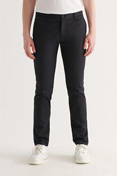 Avva Erkek Siyah Yandan Cepli Armürlü Slim Fit Pantolon A11y3011