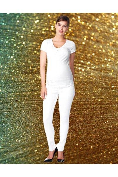 NOPPIES Yüksek Bel Beyaz Hamile Jean Pantalon