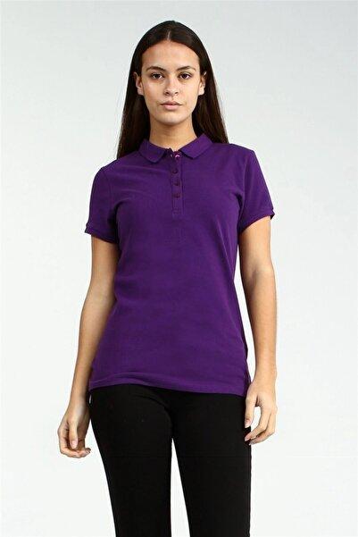 YÜCEL TİCARET Kadın  Mor Polo Yaka Kısa Kollu Basic Tshirt